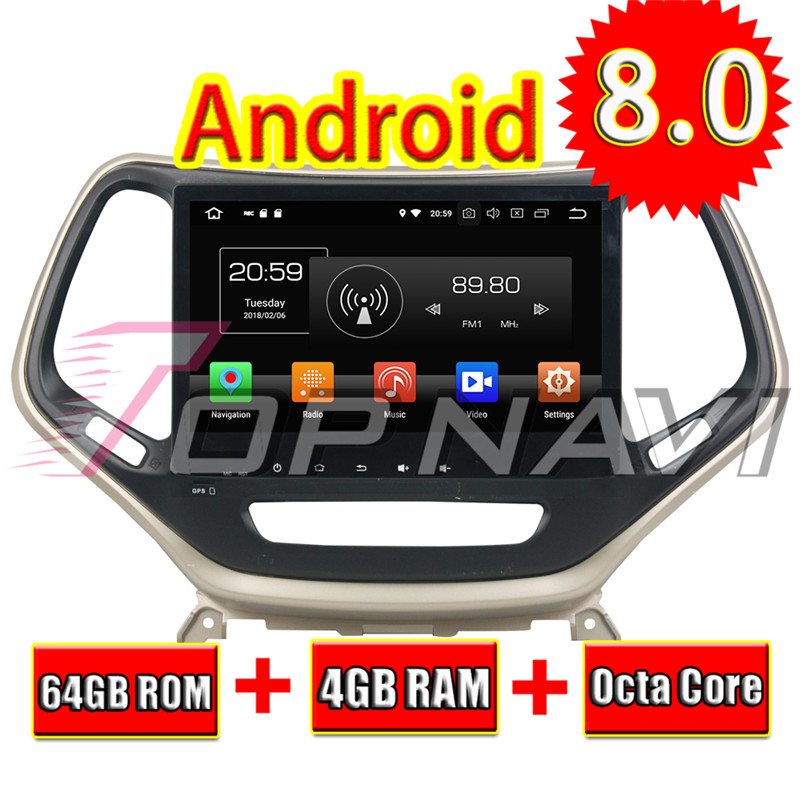 Topnavi Android 8.0 Araba Media Center Player Radyo için Jeep Cherokee -2017 Stereo 2DIN GPS Navigasyon HIÇBIR DVD octa Çekirdek 4 + 64 GB