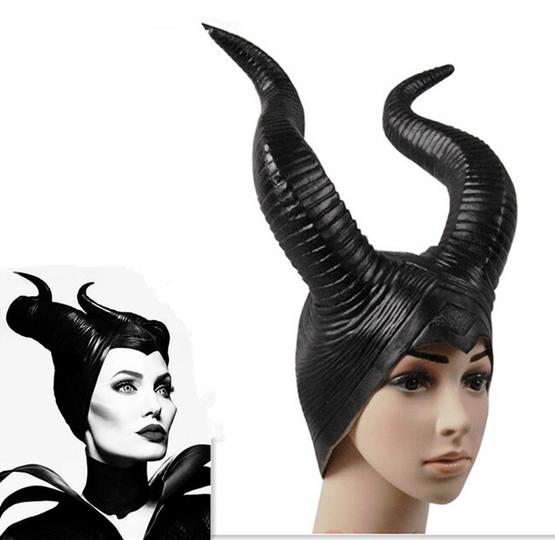 2018 Trendy Hakiki lateks Maleficent kornalar Halloween party kostüm Cosplay başlığı Yetişkin boyutu